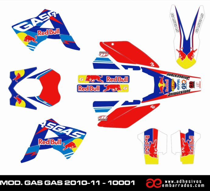 ADHESIVOS ENDURO PERSONALIZADOS  GAS GAS 2010/11 (9 Diseños Del 2018)