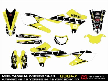KIT DE ADHESIVOS YAMAHA WRF 250/450CC – Amarillo