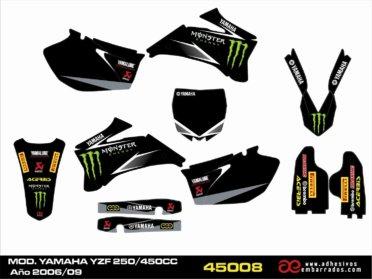 Kit De Adhesivos Para Yamaha YZF 250/450c.c. 2006-09  Negro