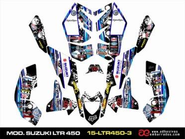 Kit De Adhesivos Suzuki LTR 450 – Ampliado Negro