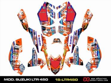 Kit De Adhesivos Suzuki LTR 450 – Ampliado Naranja
