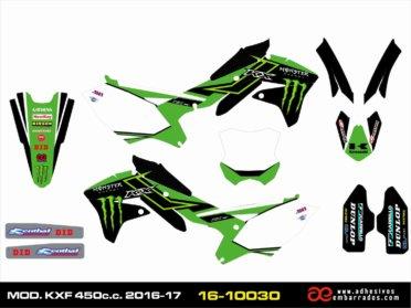 Kit De Adhesivos Kawasaki KXF 450 Año 2016/17
