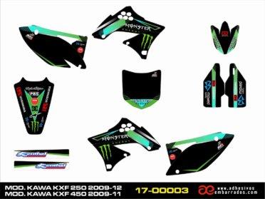 Adhesivos Kawasaki KXF 250 – 450cc – Fondos Negros
