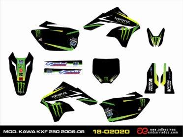 KIT DE Adhesivos Kawasaki KXF 250 2006/08 – BLACK ENERGY